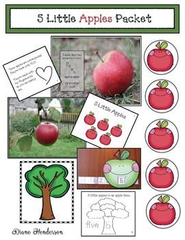 """5 Little Apples"" Activities & Emergent Reader"