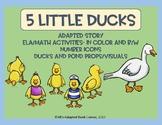 5 Little Ducks Adapted Song Book & ELA/Math Activities. Special Ed.