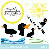5 Little Ducks Clip Art  Set 1