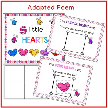 5 LITTLE HEARTS....Adapted Poem, Emergent Readers, Literacy & Math Activities
