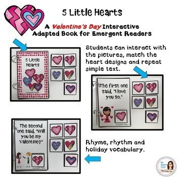 """""""5 Little Hearts"""" An Adapted Interactive Valentine's Day Book"""