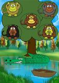 "5 Five Little Monkeys Activity Set ""alligator"" ""monkey"""