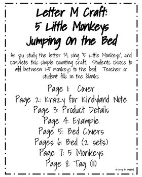 5 Little Monkeys Jumping On the Bed Craft