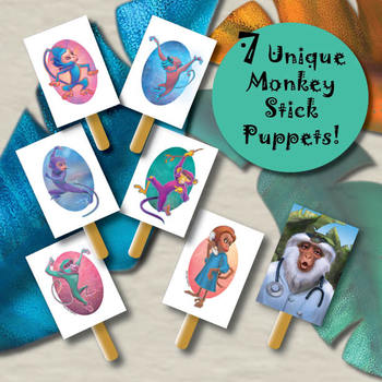 5 Little Monkeys Jumping On the Bed Stick Puppets & Coloring, Pre-K, Preschool