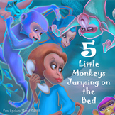 5 Little Monkeys Jumping On the Bed Stick Puppets & Colori