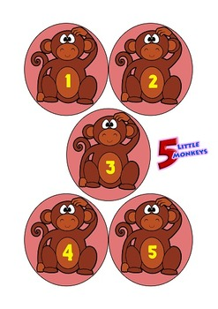 """""""5 Little Monkeys"""" Jumping on Bed set with """"Printable, Foldable Bed"""""""