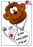 """""""5 Little Monkeys"""" Jumping on Bed set with """"Printable, Fol"""