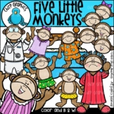 Five Little Monkeys Jumping on the Bed Clip Art Set - Chir