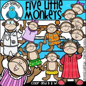 Five Little Monkeys Jumping on the Bed Clip Art Set - Chir