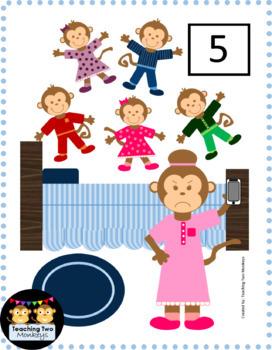 5 Little Monkeys Jumping on the Bed Interactive File Folder Activity