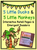 5 Little Monkeys and 5 Little Ducks Interactive Pages and