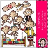 5 Little Monkeys clip art - by Melonheadz
