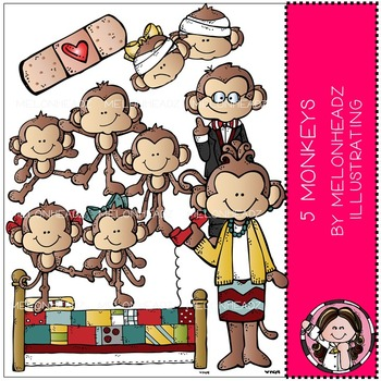 5 Little Monkeys clip art - COMBO PACK - Melonheadz Illustrating