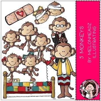 5 Little Monkeys clip art - COMBO PACK -  by Melonheadz