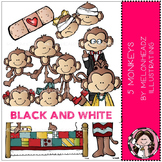 5 Little Monkeys clip art - BLACK AND WHITE - Melonheadz Illustrating