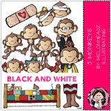 5 Little Monkeys clip art - BLACK AND WHITE - by Melonheadz