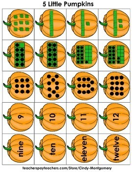 5 Little Pumpkins Math Activity: numbers 1-12, number words, counting, etc