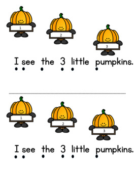 5 Little Pumpkins Math Emergent Reader (Subitizing to 5) and Number Tracing