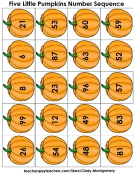 5 Little Pumpkins Number Sequencing to 99