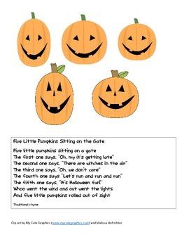 5 Little Pumpkins Sitting on a Gate file folder game