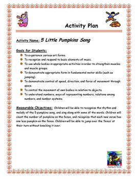 5 Little Pumpkins Song Activity