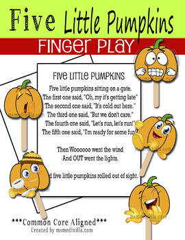 5 Little Pumpkins finger play graphics without the Witches