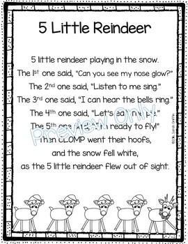 5 Little Reindeer Christmas Poem For Kids By Little