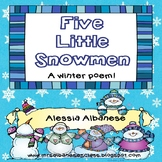 5 Little Snowmen - A Winter Poem {Freebie!}