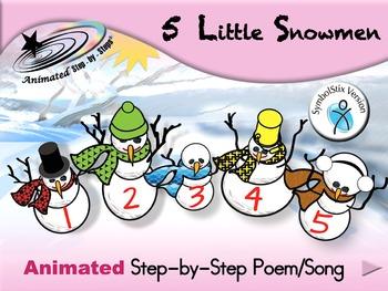 5 Little Snowmen - Animated Step-by-Step Poem/Song - SymbolStix