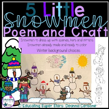 5 Little Snowmen Poem and Craft