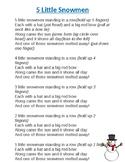 5 Little Snowmen Song Printable