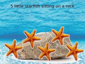 5 Little Starfish Song PowerPoint Presentation - EYFS Maths