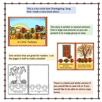 Thanksgiving 5 Little Turkeys 3 levels of Support,Interactive book, Rebus