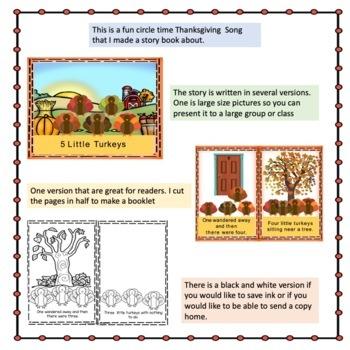 Thanksgiving  5 Little Turkeys books, Interactive book