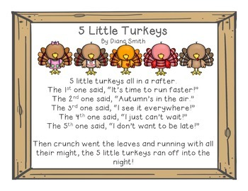5 Little Turkeys Poem And Clipart By Engage And Play In