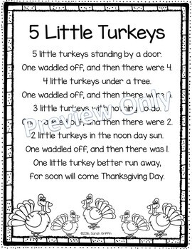5 Little Turkeys - Thanksgiving Poem
