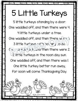 5 Little Turkeys - Thanksgiving Poem