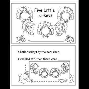 5 Little Turkeys Worksheet and Book