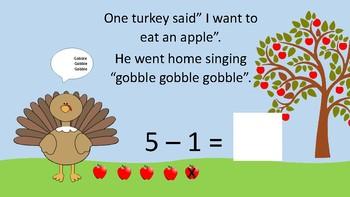 5 Little Turkeys song and Math book