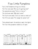 5 Little Pumpkin Poem