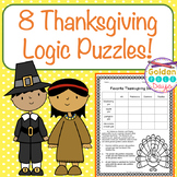 Thanksgiving Logic Puzzles For Beginners! - Critical Thinking! Gr 2,3, 4