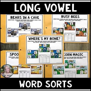 5 Long Vowel Literacy Centers Bundled