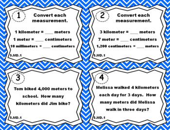 5.MD.1 Task Cards: Measurement Conversions Task Cards 5.MD.1 Centers