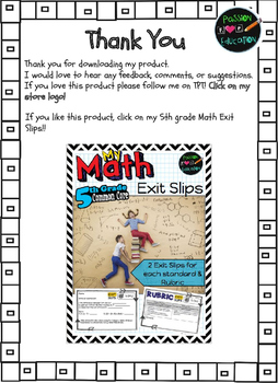 5.MD.3 - Volume - 2 FREE Exit Slips & Rubric