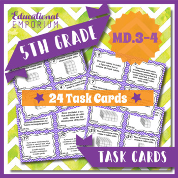 5.MD.3 & 5.MD.4 Task Cards - Understanding Volume (Fifth-G