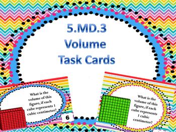 5.MD.3 task cards Volume cubes