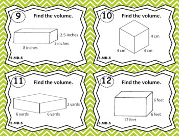 5.MD.5 Task Cards: Volume Task Cards 5.MD.5: With Volume Word Problems
