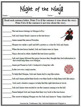 5 Magic Tree House Night Of The Ninjas Novel Study