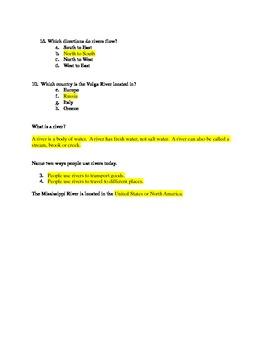 5 Major Rivers Quiz w/Answer Key
