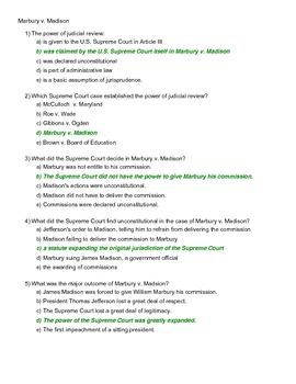 5 Major Supreme Court Cases Assessment Answer Key